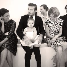 David Beckham and Harper Seven sitting front row at the #VictoriaBeckham show in New York #NYFW #FashionWeek