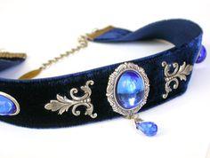 Blue Velvet Victorian Choker - Sapphire Glass Jewel - Swarovski crystal - Women Gothic Jewelry on Etsy, $66.54 AUD