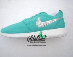 NEW!! Swarovski Nike Womens Blue /Turq Roshe blinged with SWAROVSKI® Crystals