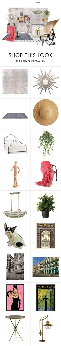 """""""Industrial Loft Atelier"""" by jenmontreal ❤ liked on Polyvore featuring interior, interiors, interior design, home, home decor, interior decorating, WALL, Worlds Away, La Vie en Rose and Flora Bella"""