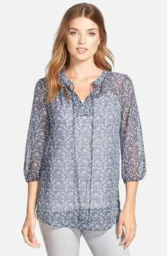 "Print Tie Neck Chiffon blouse: Nordstrom. :) the ""blush/white chained dots"" color is my favorite"