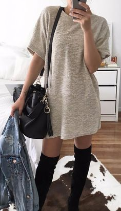cozy dress mixing with a jean jacket