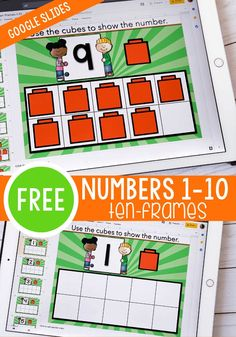 This FREE numbers 1-10 counting activity is perfect for your preschool and kindergarten students. Your students can practice counting to 10 with these fun ten frame Google Slides activities! They are perfect for math centers, distance learning, homeschool, and more! #countto10 #kindergarten #math #googleslides #mathcenter #homeschoolresources