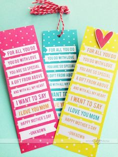 Mother's Day bookmarks