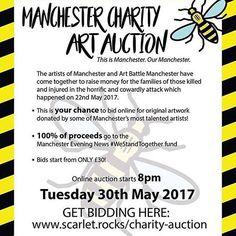 Manchester Art, 42nd Street, How To Raise Money, Scarlet, Charity, Tuesday, Original Artwork, Rocks, Auction