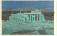 The Acropolis Ruins at Night - Hiroshi Yoshida 1876-1950
