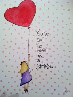 Valentine's Day art... You've Got My Heart on a String (colored pencils)