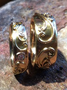 Melissa Caron creates stunning art nouveau inspired jewelry - one of my favorite colleagues. These wedding rings boast details and are just wonderfully sumptuous.