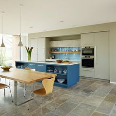 Blues and Views - by Harvey Jones - The Kitchen Think Kitchen Utilities, Beautiful Kitchens, Showroom, Kitchen Extensions, Bournemouth, House Styles, Kitchen Island, Kitchen Ideas, Table