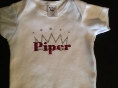 Onesie I decorated with glitter transfer vinyl and my Silhouette Cameo.