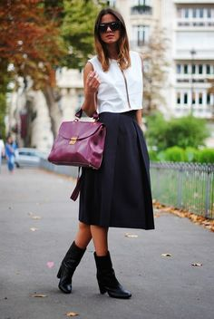 Love this leather crop top & midi skirt look. The bag is great as well.