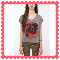 URBAN OUTFITTERS Bird Rose Pic Crop Tee Soft tri-blend tee cropped shirt from BIRD, cut with a scoop neck and cap sleeves, 22in(L) from shoulder to hem, made of polyester cotton and rayon. NWOT! Urban Outfitters Tops Crop Tops