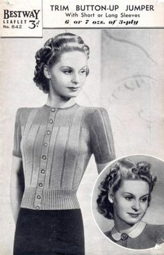 Ladies Button-Up Jumper ~ Vintage 40s WW2 Knitting Pattern Bestway 842 | eBay