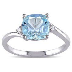 Miadora 10k White Gold 1 3/4ct TGW Blue Topaz and Diamond Cocktail Ring (H-I, I2-I3) (Size 10), Women's