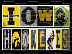 Iowa Hawkeyes Framed Alphabet Photo Art by DAMartStudio on Etsy