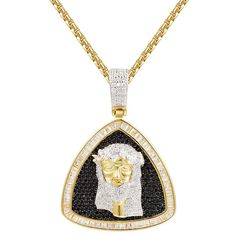 Men's Jesus Face Black Iced Out Triangle Pendant