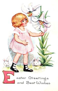 vintage Easter series girl with large flowers -- 2 of 4