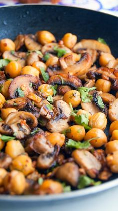 Pan fried mushrooms and chickpeas in herb garlic butter. Tasty Vegetarian Recipes, Vegetable Recipes, Healthy Recipes, Vegan Chickpea Recipes, Whole Food Recipes, Cooking Recipes, Mushroom Dish, Vegan Dinners, Vegetable Dishes