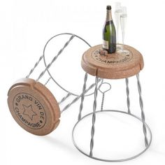 H&H> Giant Champagne Cork Wire Cage Stool / Side Table Silver