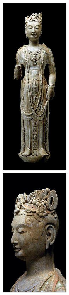 Standing figure of the Avalokiteshvara Bodhisattva. Northern Qi (550 - 77). Limestone   Asian Art Newspaper