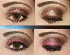 DAY LOOK:   Crease and Outer Lid: BFTE Shadow in Chocolate.   Lid: BFTE Shadow in Boutique Babe.   Highlighter: Clinique Colour Surge Starstruck.   Eyeliner: Urban Decay Glide-On in Bourbon.   Mascara used: Prescriptives False Lashes in Black.     EVENING LOOK:   Lid: Added BFTE Shadow in Stunning. I added this under my bottom lash line, too.   Eyeliner: Added Urban Decay Glide-On Liner in Zero.   **Brushed BFTE Chocolate over Liner on top**   Mascara: Added a little more Prescriptives False…