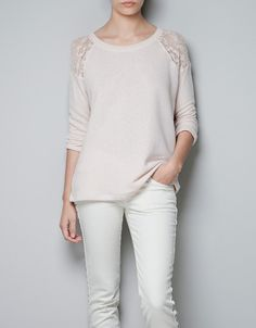 JERSEY WITH LACE SLEEVES - Knitwear - TRF - ZARA United States