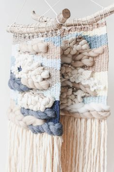 'Down by the Sea' Weavings, Home decor, Wall Hanging Weaving Wall Hanging, Weaving Art, Tapestry Weaving, Hand Weaving, Nursery Decor, Wall Decor, Weaving Techniques, Crochet Hats, Colours