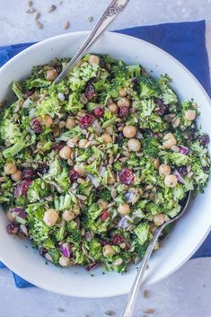 This Crunchy Broccoli Salad with Maple Mustard Dressing is perfect for a healthy no-cook side dish! It only takes about 15 minutes to make and is perfect for making ahead! It's also great for an easy and delicious holiday side that doesn't require any cooking! #vegan #glutenfree #vegetarian #sidesalad #sidedish #broccoli #healthy