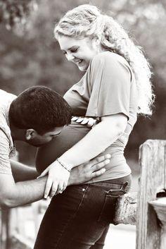 So sweet! #Babybump kisses!