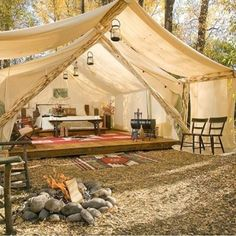 More amazing glamping inspiration from Montana's Paws Up Resort. Why not indulge in the ultimate night under the stars ...in a comfy queen bed! #glamour #camping #adventure #holiday #vacation #glamping #style #tent #interiordesign #architecture #smores #campfire #stargazing #thestylephiles