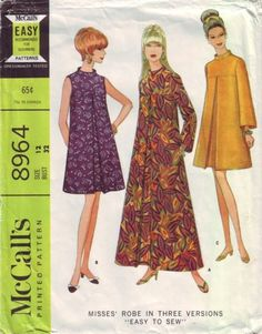 ea30212d17631 1967 Vintage McCall's Robe Pattern 3 Versions #8964 Sz 12 Bust 32 Cut  Complete 60s