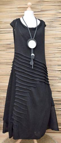 *ZUZA BART*DESIGN HAND MADE PURE LINEN BEAUTIFUL A-LINE DRESS**BLACK**Size L-XL