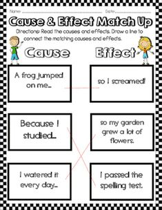Cause and Effect Activities & Worksheets First Grade Worksheets, First Grade Activities, Kindergarten Worksheets, Cause And Effect Worksheets, Cause And Effect Activities, Reading Skills, Guided Reading, English Grammar Worksheets, Teaching Tips