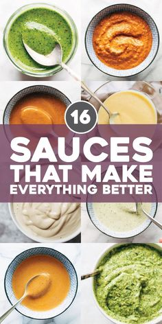 The 16 Sauces That Make Everything Better - Pinch of Yum - - If you don't already know: sauce is life. Slather these on sandwiches, drizzle them on salads, pour them over pasta – the options are endless. New Recipes, Vegetarian Recipes, Dinner Recipes, Favorite Recipes, Healthy Recipes, Healthy Sauces, Ninja Blender Recipes, Immersion Blender Recipes, Vegan Sauces
