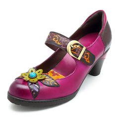 fdde9b67b487f SOCOFY Vintage Handmade Flower Pattern Hook Loop Leather Pumps is  well-designed. NewChic offers a wide range of cheap pumps shoes for women