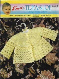 c8b209f3135 Baby Matinee Coat Emu 8593 vintage crochet pattern 4 ply & DK yarn #Emu