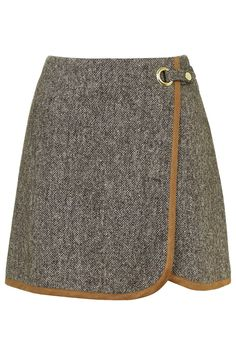 Tweed Wrap Front Pelmet Skirt - TopShop has a great new style guide with personalized recommendations! (I'm such a sucker for a quizlet) Tweed Skirt, Skirt Pants, Dress Skirt, Eyelet Skirt, Topshop Skirts, Brown Skirts, Cute Skirts, Mini Skirts, Mode Style