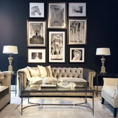Chesterfield sofa- I love everything about this. I love that color with the grey and all of the accessories.
