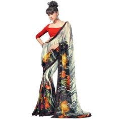#Beautiful #Floral #Printed Faux #Georgette #Saree only at Rs.1,485 #ethnic #trendalert