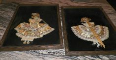 2 Antique Girl Ribbon Cloth Girls in Decorative Wood Frames w/Glass Ribbon Art  #Vintage
