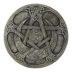 This beautiful moon pentacle plaque incorporates Pagan and Celtic symbolism, which flows endlessly, as Celtic knot work does. Made from cold cast resin with a stone finish. On the outside of this cres