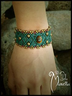 Pixie fairy tribal green forest versatile macrame bracelet  with tiger eye gemstone/ Use like you want : cuff /ankle / arm bracelet