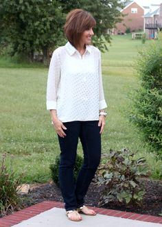 Metallic Trend For Fall 2013 - metallic dot blouse!  Stitch Fix sent her this Kensie blouse, and I like that it is more white than cream.