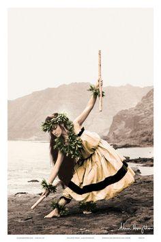 Pua with Sticks, Hawaiian Hula Dancer Art Print
