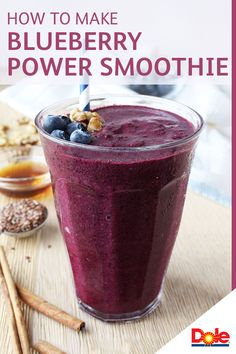 This Blueberry Power Smoothie recipe is not your average way to start the morning. Packed full of chopped walnuts, flaxseed and frozen DOLE® Blueberries, this Blueberry Power Smoothies is an exciting take on the traditional! CLICK for the full recipe.