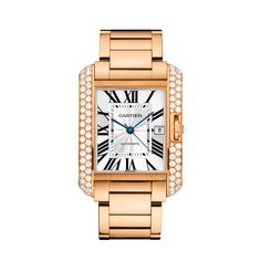 Tank Anglaise watch, extra-large model, Automatic, Pink Gold, Diamonds