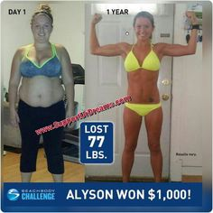 No need to adjust your screen settings; These results are REAL! Alyson overcame the challenges of hypothyroidism to lose 77 lbs in 1 year with FOCUS T25, INSANITY MAX:30, 21 Day Fix EXTREME, and Body Beast. And she won $1,000 in the Monthly Beachbody Challenge! www.SupportUrDreams.com or www.NaimRobinson.com