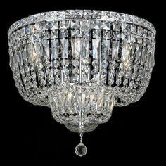"Elegant 2528F20C-RC Tranquil 20"" 10-light Crystal Chrome Flush Mount Ceiling Lighting - ELE-2528F20C-RC"