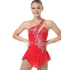 Vestido de patinaje artístico Mujer Niñas Chica Vestido de Patinaje Sobre Hielo Rojo Elastán Alta elasticidad Retazos Clásico Sexy 2017 - $63.64