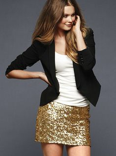 pair a sequin skirt with a blazer for a classic look